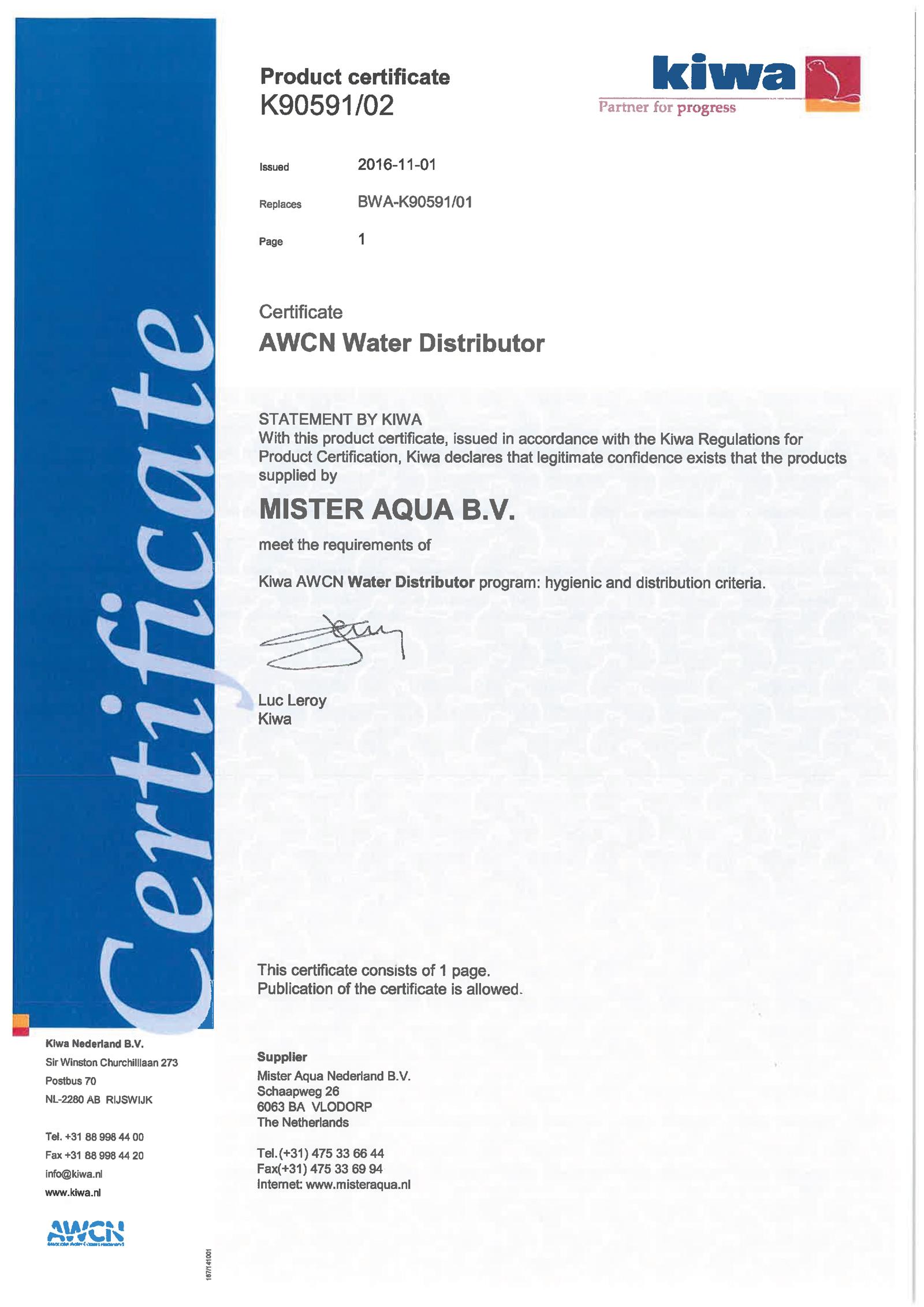 Kiwa-certificaat